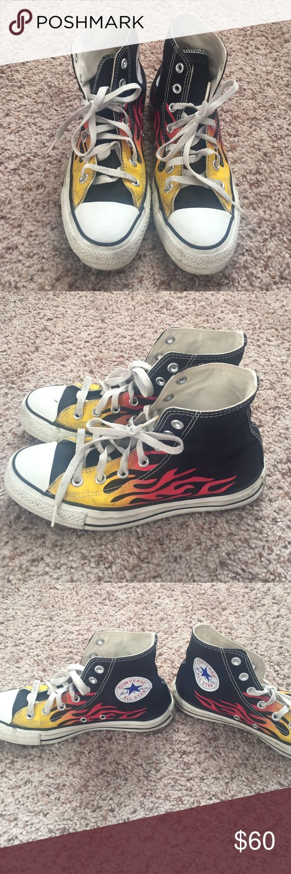 Rare flame converse chuck Taylor's Gently worn 5 1/2 men 7 1/5 women Converse Shoes Sneakers