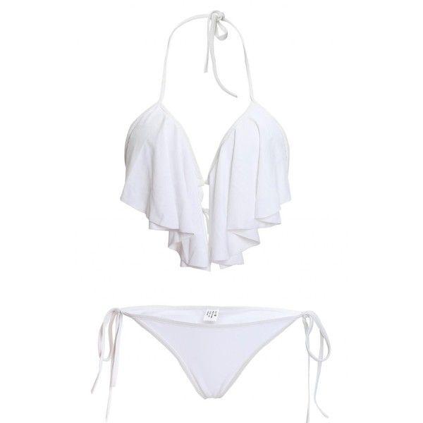 LOUISE MAELYS Sexy Halter Ruffle Padded Top Bikini Set Swimwear... ($17) ❤ liked on Polyvore featuring swimwear, bikinis, white swimsuit, swim suits, sexy bathing suits, halter bikini top and swimsuits bikinis