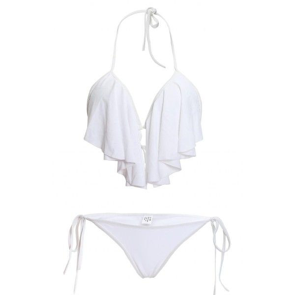 LOUISE MAELYS Sexy Halter Ruffle Padded Top Bikini Set Swimwear... (£12) ❤ liked on Polyvore featuring swimwear, bikinis, white bathing suit, sexy bathing suits, halter bathing suit, halter swimsuit and white bikini