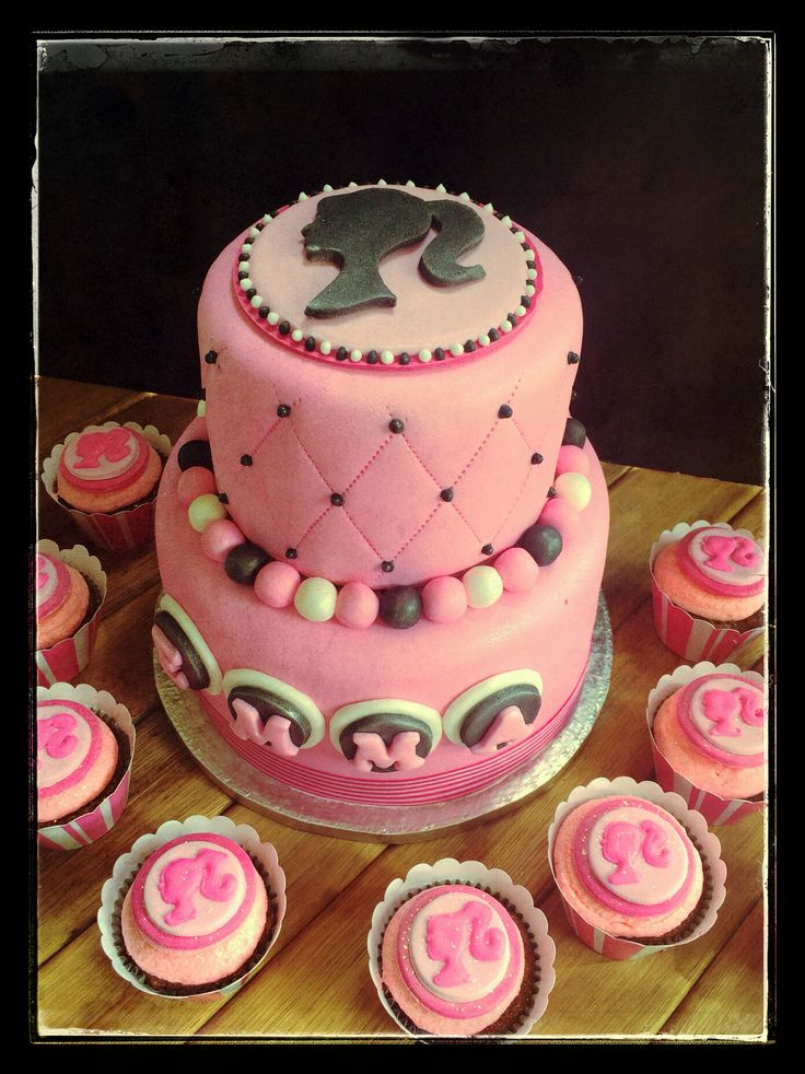 Barbie Silhouette Cake And Cupcakes Pastry Angel Bakery