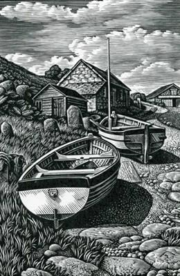 """Howard Phipps """"Beached Boats, Penberth"""" wood engraving"""