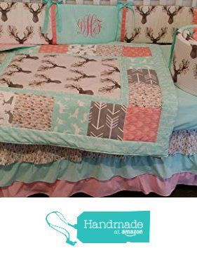 Woodland 1 to 3 Piece baby girl or boy nursery crib bedding Quilt, bumper, and bed skirt, Buck, deer, fawn, head silhouette, Arrow, Teepee, Aztec Any color theme available from CozyCreations Heather Reynolds https://www.amazon.com/dp/B01INSHDCS/ref=hnd_sw_r_pi_dp_EeGSxb5499SX6 #handmadeatamazon