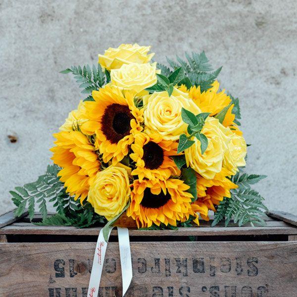 Ramo de Girasoles y Rosas Amarillas | Bourguignon. Floristería Madrid