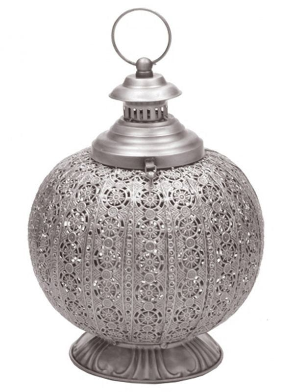 "Lanterna Indiana ""Arabesco"" em Metal 33cm - http://www.artesintonia.com.br/lanterna-indiana-arabesco-em-metal-33cm"