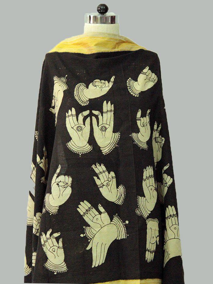 Black Mudras Cotton Kalamkari Dupatta