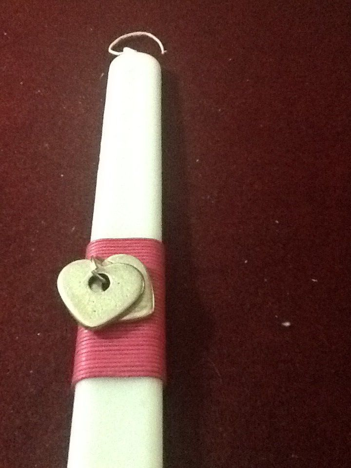Handmade Easter Candle White Hearts