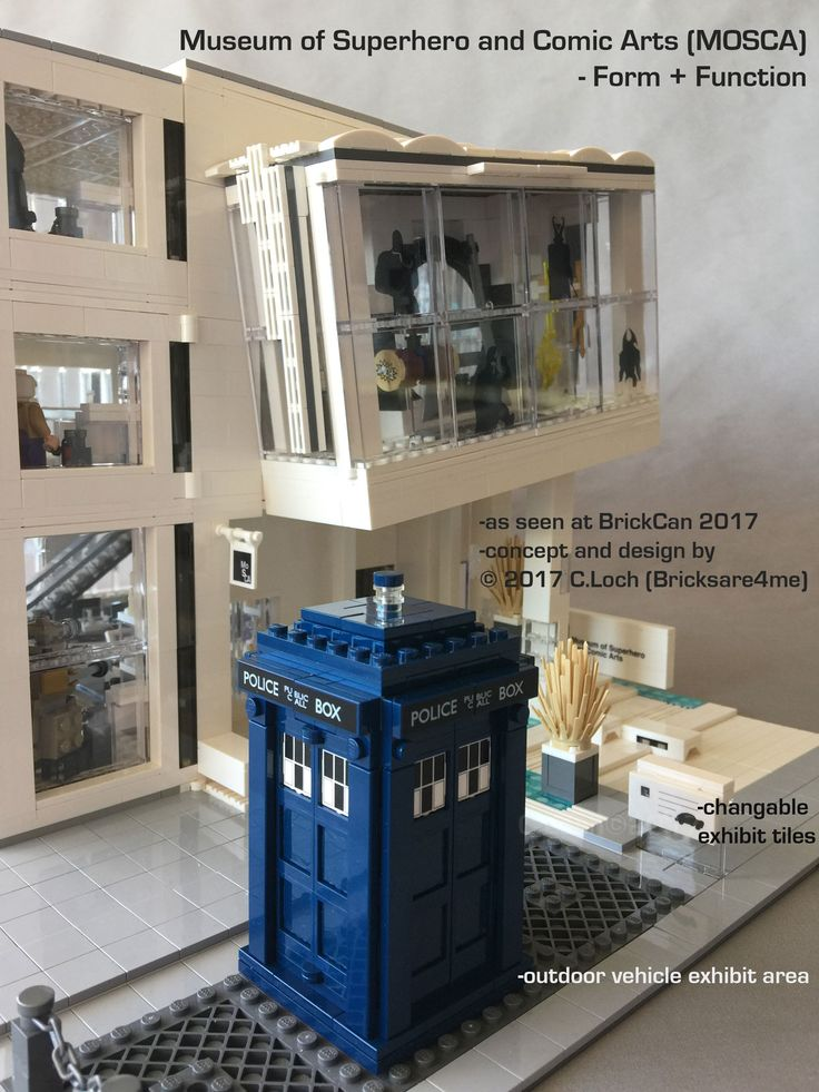 An original MOC built by AFOL © 2017 C.Loch (Bricksare4me) - side entrance with superhero's phone box in outdoor vehicle exhibit area. Blogged on https://www.archbrick.com/single-post/2017/05/05/MOSCA and interviewed at Lisaloveslego.com. #legobricks #moc #afol #modernarchitecture #photography #legobuildings #moderndesign #legomoc #museum #bricksare4me #superhero #comics #arts #architecturelego