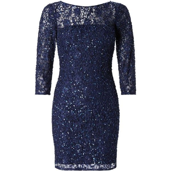 Aidan Mattox Long Sleeve Beaded Cocktail Dress, Navy ($105) ❤ liked on Polyvore featuring dresses, robe, cocktail dresses, long sleeve maxi dress, blue cocktail dresses, long sleeve sequin dress and sparkly cocktail dresses