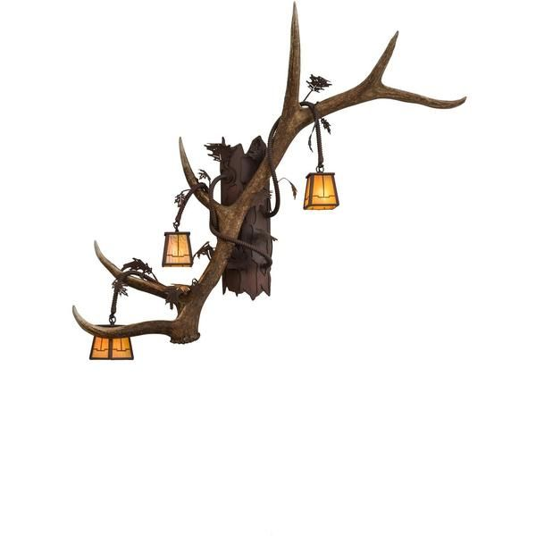 46 Inch W Antlers Elk 3 Lt Wall Sconce Theme: RUSTIC LODGE ART GLASS ANIMALS Product Family: Antlers Elk Product Type: WALL SCONCES Product Application: THREE LI