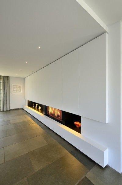 openhaard met wandmeubel - RES interieurarchitecten
