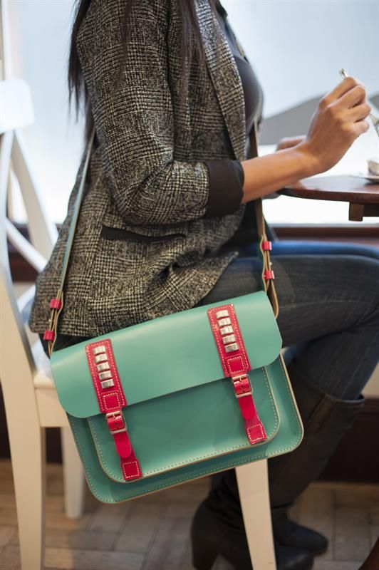 Turquoise and pink satchel