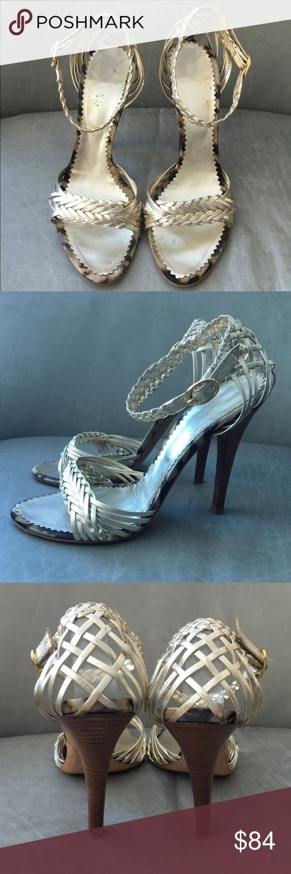 ROBERTO CAVALLI Gold Woven Strappy Heeled Sandals True to size. Braided straps and basket heels/vamps. Animal print trim on soles. Very comfortable and versatile style. Buckle ankle closure. Slight wear on insoles and moderate wear on soles. Roberto Cavalli Shoes Heels