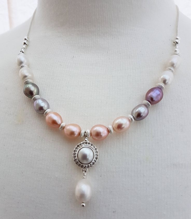 Multi colour pearls necklace, Cultured pearl necklace, Silver pearl jewellery, June's birthday bead, Women's gift, Mother's gift, handmade by SweetgemsDesign on Etsy
