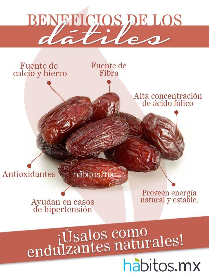 ¡Beneficios de los dátiles! Antioxidantes , fuente de hierro y calcio , efectivo en casos de hipertension , puede usarse como edulcorante . . .
