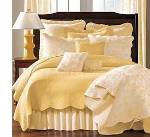 Yellow Brighton Toile and Gloucester Bedding #bedroom
