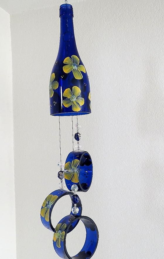 Recycled wine bottle wind chime wind chimes pinterest for Glass bottle wind chimes