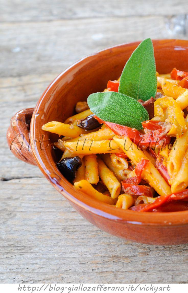 Penne con peperoni e olive ricetta veloce vickyart arte in cucina