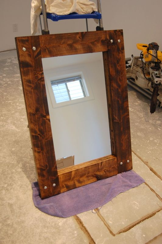 Diy rustic mirror and a half bath update rustic for Mirror with mirror border