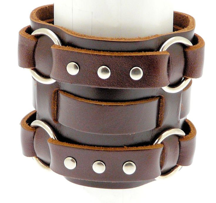 Cool Leather Bracelet for Men. Neptune Giftware Wide Triple Strap Leather Cuff Wrap Gothic Wristband Bracelet With Buckle Fastening - Available In Black or Brown - YOU CHOOSE. Only $14.99