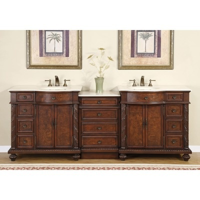 90 Inch Double Sink Chest beautiful Solid wood frame vanity featuring  Exquisite Antique Cherry with Burled Doors and Cream Marfil Marble Stone  countertop. 17 Best images about Top 10  Bathroom Vanities on Pinterest