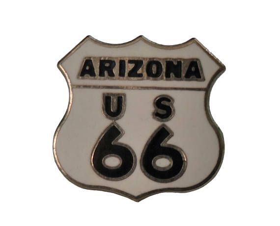 "ARIZONA STATE US66 vintage enamel pin badge sign lapel cloisonne Route 66 by VintageTrafficUSA  14.00 USD  A vintage Arizona pin! Excellent condition. Measures: approx 1"" 20 years old hard to find vintage high-quality cloisonne lapel/pin. Beautiful die struck metal pin with colored glass enamel filling. Add inspiration to your handbag tie jacket backpack hat or wall. Have some individuality = some flair! -------------------------------------------- SECOND ITEM SHIPS FREE IN USA!!! LOW…"