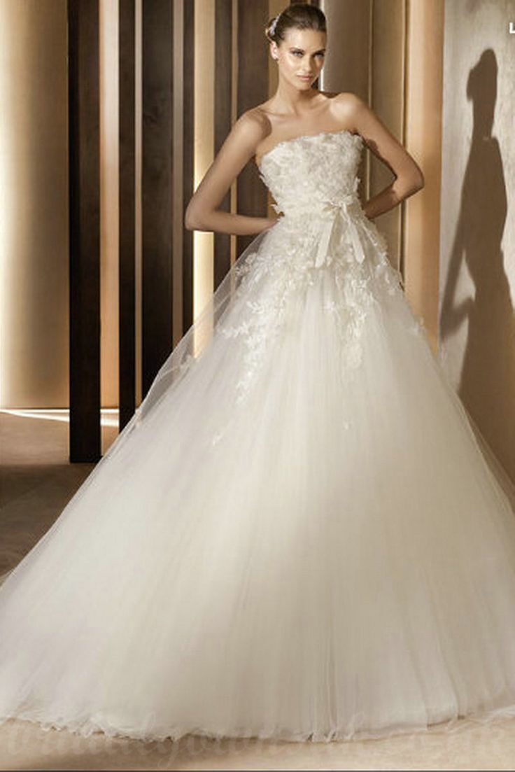 Empire Tull Bow Tie Strapless Floral Trimed Perfect Wedding Dresses UK