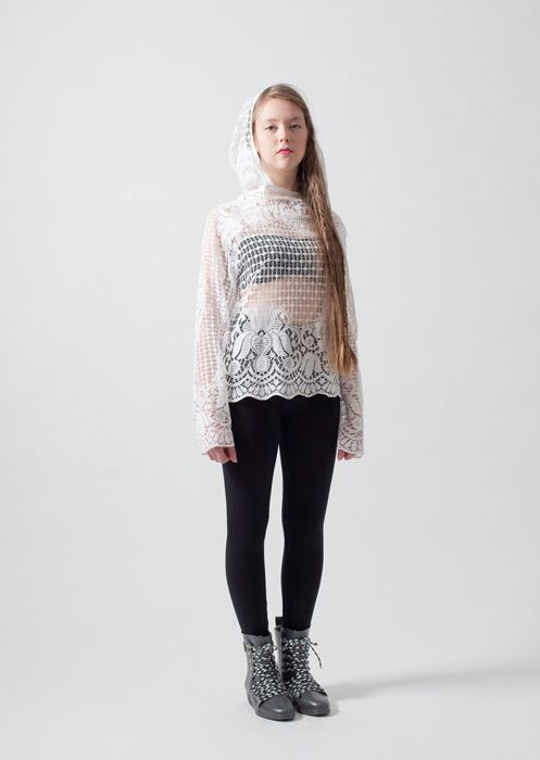 Clouds hoodie / Hooded lace shirt made of recycled curtains. Loose fit, bust darts, raglan sleeves. Varied lace patterns and materials. Colours: white, smokey blue, wheat. Price: 79€