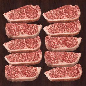 Kobe Beef Wagyu Beef NY Strip Steak 16oz. (10 PACK) by KOBE-BEEF-STORE.COM LLC Price: $280.00 ($28.00 / Item)  100% ANTIBIOTIC FREE 100% HORMONE FREE NY STRIP STEAK