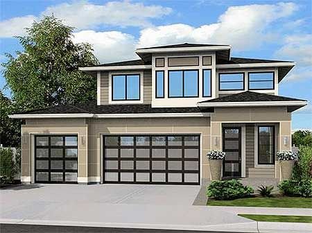 Plan 23523JD: Contemporary Home Plan With Options 2100 sq foot, 4 bedroom, with den, no mud room