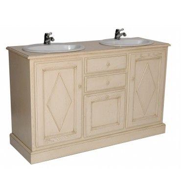 Meuble salle de bain double vasques 143cm r f rence for Double vasque salle de bain ceramique