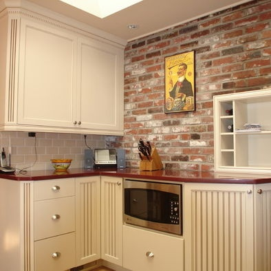 exposed brick backsplash.  I want this color of brick for my kitchen backsplash and dining wall.