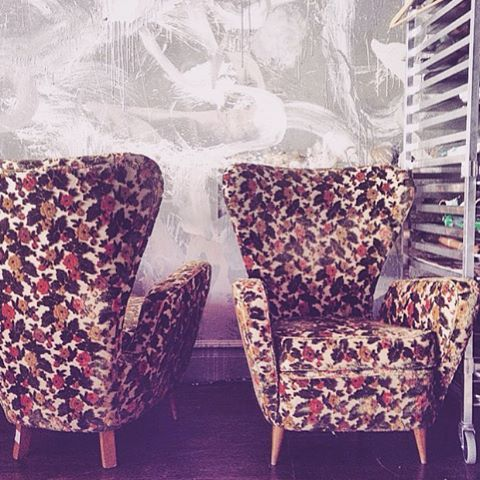 Dropped these beautiful Italian parlour chairs to our upholsterer on Friday for a refresh in #martynthompsonstudio jacquard fabrics. #upholstery #jacquard #highback