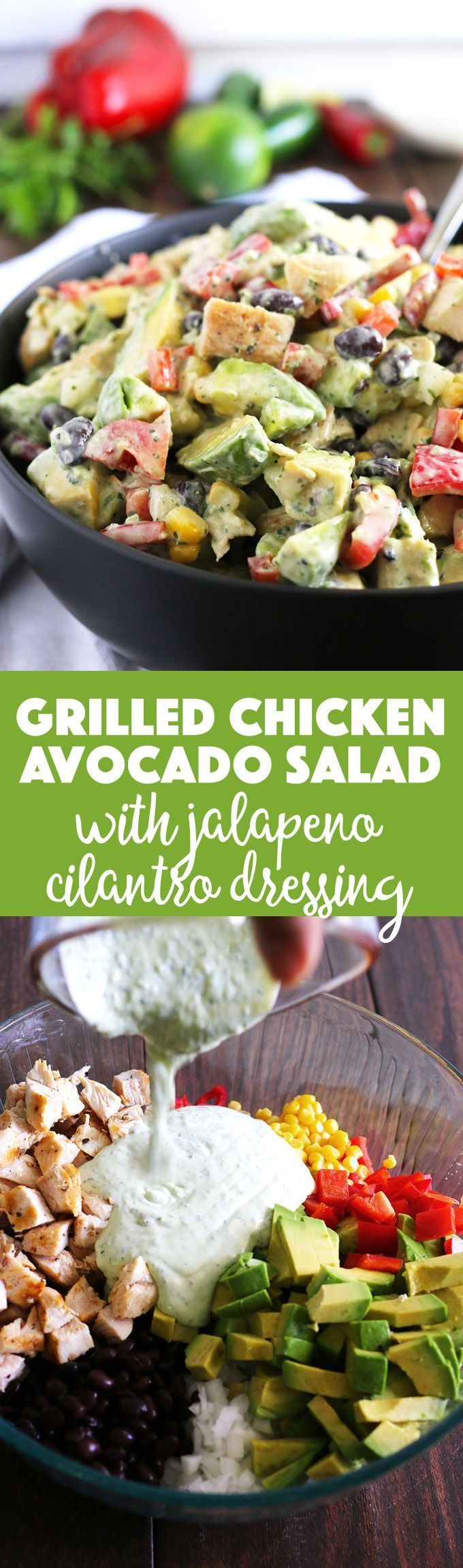 This grilled chicken avocado salad is topped with homemade jalapeno cilantro dressing. It is the perfect easy summer salad and great for quick lunches! Easy recipe, easy lunch!