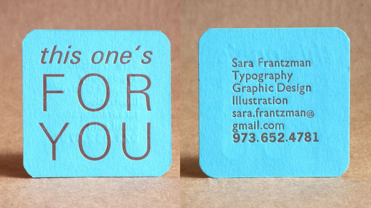 Square business card.