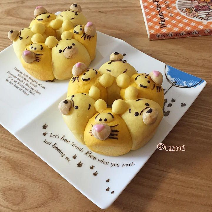 "Japanese ""Chigiri-Pan"" are cute edible characters (Winnie the Pooh, Snoopy, Garfield, etc.) made out of bread. #diyinspiration"