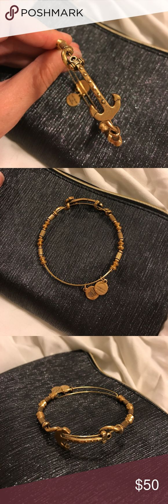 Alex and Ani Anchor Bracelet Beaded gold tone Alex and ani bracelet with anchor Alex & Ani Jewelry Bracelets