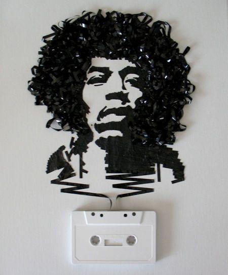 .: Iris Simmons, Artists, Tape Portraits, Erika Iris, Cassette Tape, Jimi Hendrix, Tape Art, Jimihendrix, Tapeart