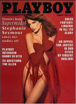 Supermodels were no strangers to Playboy Covers. Stephanie Seymour (February, 1993).
