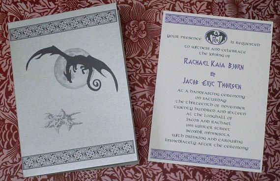 Smaug, The Hobbit, Lonely Mountain, Dwarves, Dragon, Viking, Silver Pocketfold Invitation, Reply Card, & STD Wedding Suite Sample