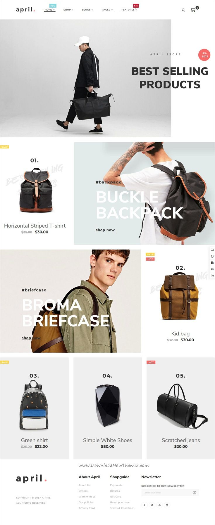 April is clean, stylish and modern design responsive WooCommerce WordPress theme for stunning bag store eCommerce website with 10+ niche homepage layouts download now..