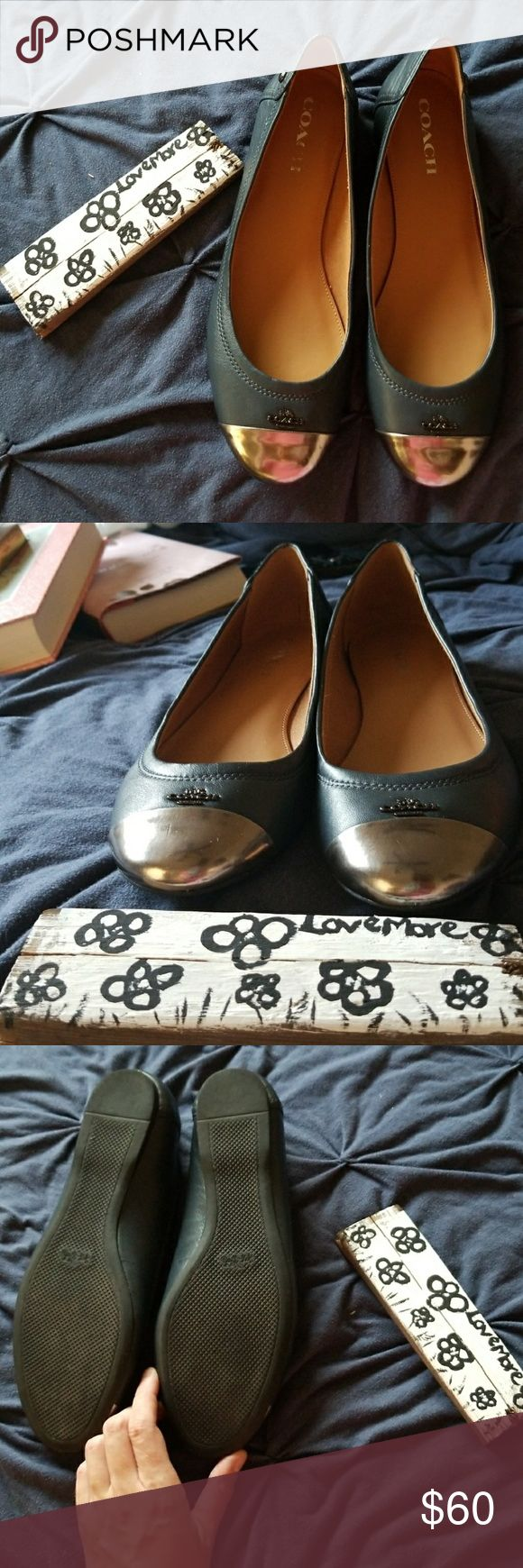 Navy blue and silver toed coach flats Navy blue and silver toed coach flats, worn one time. Coach Shoes Flats & Loafers