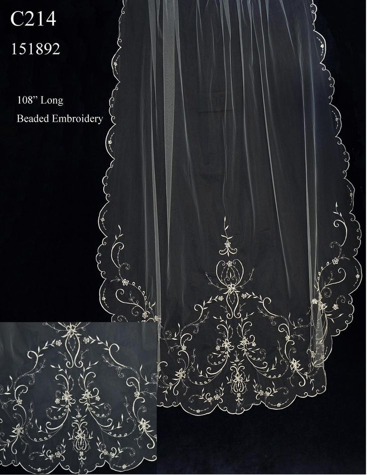Gorgeous Beaded Pewter Embroidery Cathedral Wedding Veil C214 by JL Johnson Bridal - Affordable Elegance Bridal -