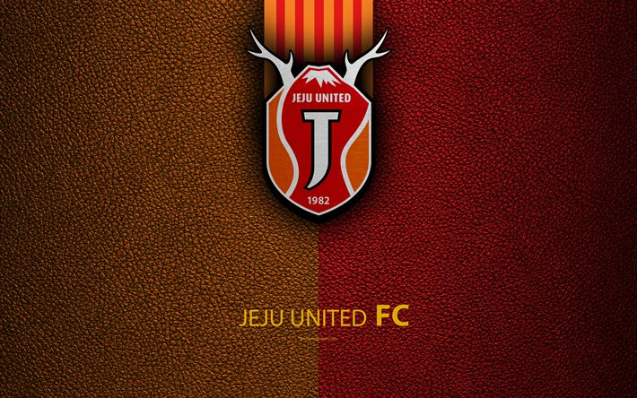 Download wallpapers Jeju United FC, 4k, logo, South Korean football club, K-League Classic, leather texture, emblem, Jeju, South Korea, football championship