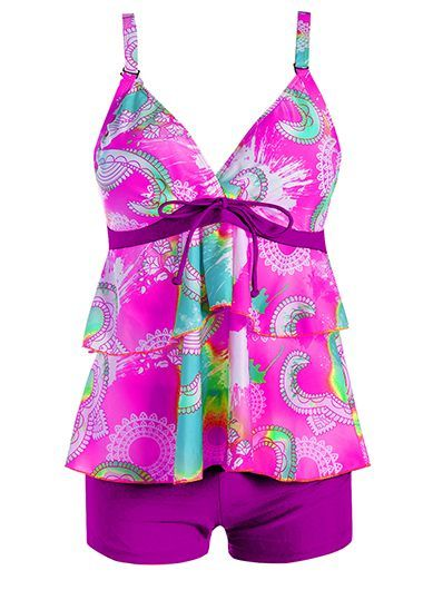 Padded Printed Open Back Purple Tankini Set on sale only US$28.32 now, buy cheap Padded Printed Open Back Purple Tankini Set at liligal.com