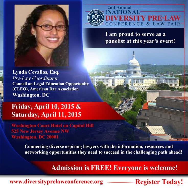 Meet Lynda Cevallos, Esq., Pre-Law Coordinator, Council on Legal Education Opportunity (CLEO), American Bar Association, Washington, DC, at the 2nd Annual National Diversity Pre-Law Conference and Law Fair 2015.  This event takes place on Friday, April 10th and Saturday, April 11th at the Washington Court Hotel on Capitol Hill in downtown Washington, DC! FREE and open to the public! Register today and join us! www.diversityprelawconference.org   #DiversityPreLawConf