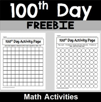 Two different activities to use during your 100th day celebration! These activities are geared towards early elementary aged classrooms! Page 2: Use small objects or stickers to fill in each square to make 100. Page 3: Flip a coin. Color the circle red if you land on heads and blue if you land on tails.  #100thday #hundredsday #numbers1to100 #kindergarten #tpt #freebie #firstgrade #secondgrade