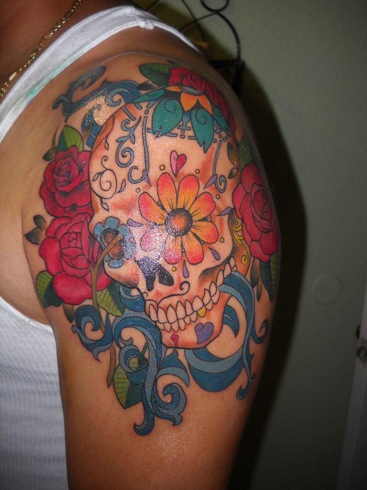 sugar skull tattoo women | Womens Sugar Skull T-Shirt