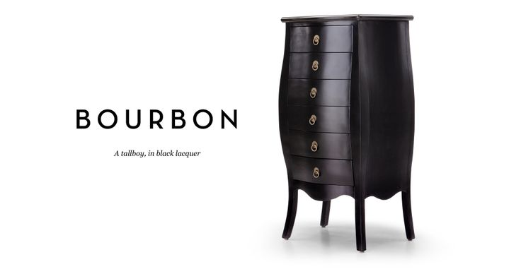 Bourbon Tallboy Chest Of Drawers in black | made.com