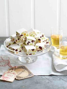Cranberry, pistachio and almond nougat