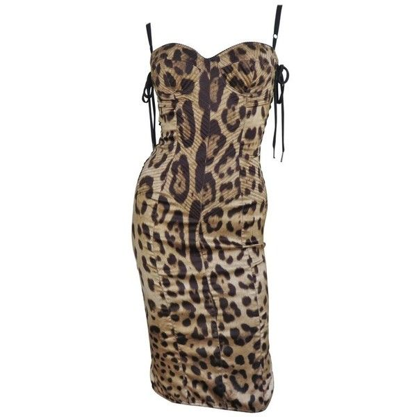 Preowned 1990s Dolce & Gabbana Laceup Side Leopard Print Silk Dress (€1.855) ❤ liked on Polyvore featuring dresses, multiple, silk dress, lace up front dress, leopard pencil dress, lace front dress and brown dresses